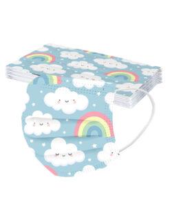 Macarilla desechable para niños -estampado nubes